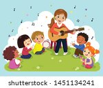 young woman playing guitar with ... | Shutterstock .eps vector #1451134241