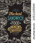sandwich illustration   bagel ... | Shutterstock .eps vector #1451145044