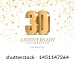 anniversary 30. gold 3d numbers.... | Shutterstock .eps vector #1451147264