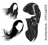 various female hair styles and...   Shutterstock .eps vector #145116055