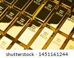 Gold Bars In A Row. Financial...