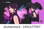 beautiful girl on the... | Shutterstock .eps vector #1451177597