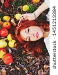 pretty red haired girl in a... | Shutterstock . vector #1451213384