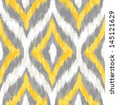Seamless Yellow And Grey Ikat...