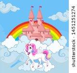unicorn at sky castle bright...   Shutterstock .eps vector #1451251274