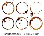 coffee cup rings isolated on a... | Shutterstock . vector #145127404