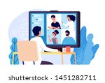 video conference. people group... | Shutterstock .eps vector #1451282711