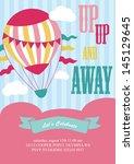 happy birthday air balloon card ... | Shutterstock .eps vector #145129645