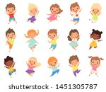 jumping kids. happy funny... | Shutterstock .eps vector #1451305787