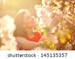 beautiful spring girl with... | Shutterstock . vector #145135357