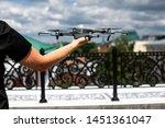 drone landing on hand. drone...   Shutterstock . vector #1451361047