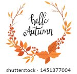 wreath of autumn plants with...   Shutterstock .eps vector #1451377004