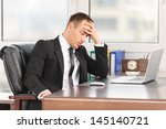 businessman looking down with... | Shutterstock . vector #145140721
