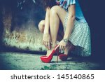 woman legs in red high heel... | Shutterstock . vector #145140865