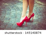 woman legs in red high heel... | Shutterstock . vector #145140874