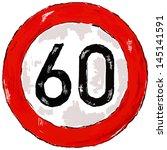 roadsign speed limit sixty   3d ... | Shutterstock . vector #145141591