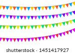 colored flags on rope...   Shutterstock .eps vector #1451417927