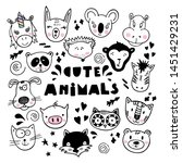 hand drawn animals  simple... | Shutterstock . vector #1451429231