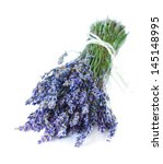 Bunch of aromatic lavender flowers on a white. - stock photo