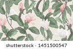 floral seamless pattern  pink... | Shutterstock .eps vector #1451500547