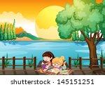 illustration of the two girls... | Shutterstock .eps vector #145151251
