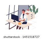 smiling man sitting at desk and ... | Shutterstock .eps vector #1451518727