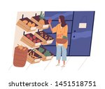 cute young woman with shopping... | Shutterstock .eps vector #1451518751