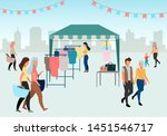 woman buying clothes at street... | Shutterstock .eps vector #1451546717