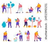 set of flat gardeners looking... | Shutterstock .eps vector #1451590151