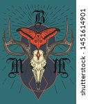 Deer skull big horns moth pattern t-shirt design.