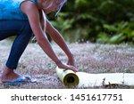 blond caucasian girl rolling...   Shutterstock . vector #1451617751