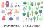 set of animals and trees ... | Shutterstock .eps vector #1451639084