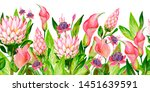 gouache pink floral border with ... | Shutterstock . vector #1451639591