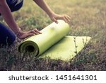 cropped image of girl rolling...   Shutterstock . vector #1451641301
