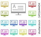 monitor  text multi color icon. ...