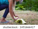 blond caucasian girl rolling...   Shutterstock . vector #1451666417
