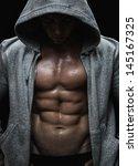 close up of muscular sports man ... | Shutterstock . vector #145167325