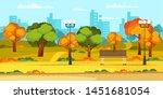empty autumn city park flat... | Shutterstock .eps vector #1451681054