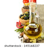 olive oil with rosemary and...   Shutterstock . vector #145168237