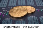 3d render of two golden bitcoin on trading chart background. Physical bit coin - Digital currency - Cryptocurrency - stock photo