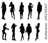 girl silhouette posing set... | Shutterstock .eps vector #1451702327