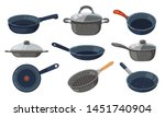 Frying pan vector icons set. Kitchen pots and different pans isolated on white background.