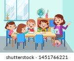 teacher with student vector...   Shutterstock .eps vector #1451766221