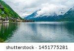 view of hallstatt  a village on ... | Shutterstock . vector #1451775281