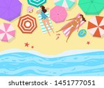 summer seascape with umbrellas... | Shutterstock .eps vector #1451777051
