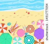 summer seascape with umbrellas... | Shutterstock .eps vector #1451777054