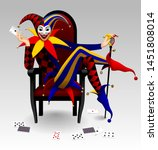 joker seated in the red chair... | Shutterstock .eps vector #1451808014