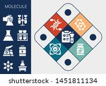 molecule icon set. 13 filled... | Shutterstock .eps vector #1451811134
