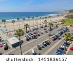 aerial view of parking lot with ... | Shutterstock . vector #1451836157
