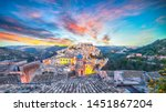 Sunset  at the old baroque town of Ragusa Ibla in Sicily. Historic center called Ibla builded in late Baroque Style. Ragusa, Sicily, Italy, Europe.
